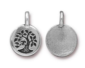 Bird in a Tree Charm Nature Antique Silver Small Tree Charm TierraCast Lead Free Pewter 17mm x 12mm 1 pc