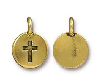 ON SALE Cross Charm Religious Antique Gold Cross Charm TierraCast Lead Free Pewter 17mm x 12mm One charm