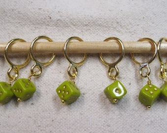 Green Dice Snag Free Stitch Markers 6 stitch markers