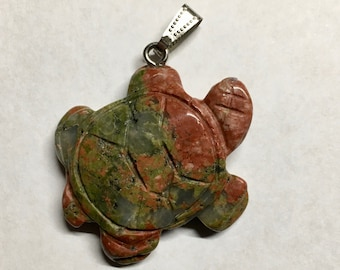 Unakite Gemstone Turtle Pendant with Bail Double Sided 42x35mm 1 pendant