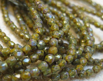 Dark Olive Green Picasso Stone Look Czech Glass Firepolished Crystal Beads 3mm 50 beads