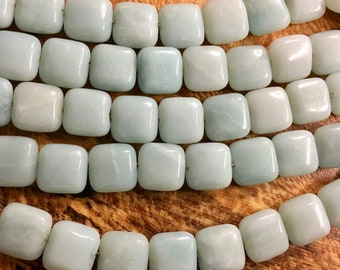 Amazonite Square Puffed Gemstone Squares 12x12mm Approx 16 pcs per 8 inch strand