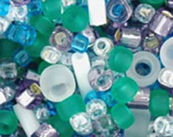 White Green Blue Purple Mix Toho Glass Seed Beads 2.5 inch tube 8 grams TX-01-3229