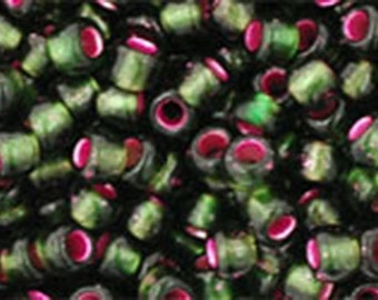 8/0 Silver Lined Frosted Olivine Pink Lined Toho Glass Seed Beads 2.5 inch tube 8 grams TR-08-2204