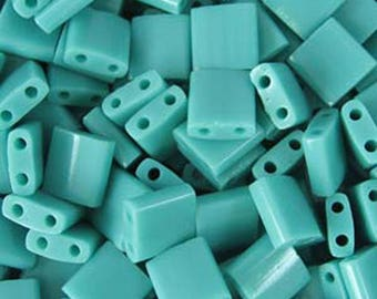Turquoise Green Miyuki 5mm Square Two Hole Tila Beads 7.2 grams TL412
