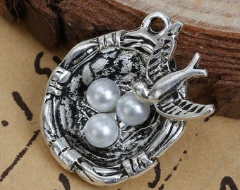 2 Bird Nest Antique Silver Charms Pendants Double Sided Charm Acrylic Pearl Beads 23mm x22mm