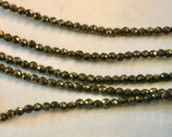 Pyrite 2mm Faceted Rounds Approx 90 pcs 8 Inch Strand