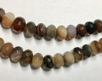 Botswana Agate Gemstone Beads Faceted Rondelles 10x6mm 8 inch strand Approx 30 pcs per strand
