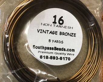 16 gauge Non Tarnish Vintage Bronze Copper Craft Wire 5 yards Made in USA