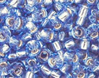 8/0 Silver Lined Light Sapphire Toho Glass Seed Beads 2.5 inch tube 8 grams TR-08-33