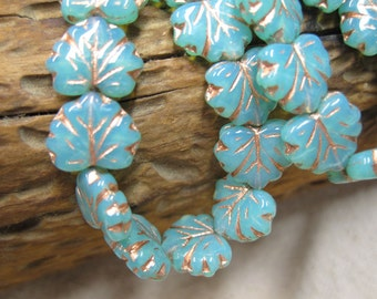 Maple Leaves Aqua Opal Green Czech Pressed Glass Maple Leaf Beads with Copper Detail 10mm x 13mm 20 beads