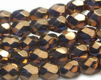 Fire Polished Crystals 4mm Bronze with Violet Shimmer Czech Glass Firepolished Crystal Beads 50 beads