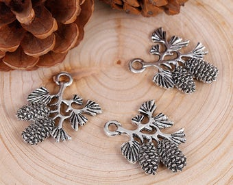 3D Pine Cone Branch Charms Pendants Antique Silver Branch Double Sided 32x30mm 2 pcs C387