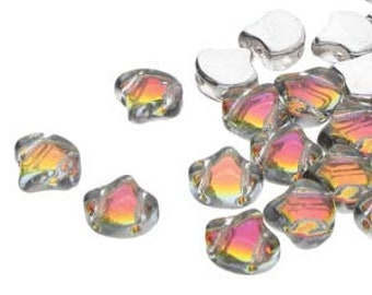 Ginko Backlit Tequila Czech Pressed Glass Two Hole Gingko Leaf Beads 7.5mm 22 grams