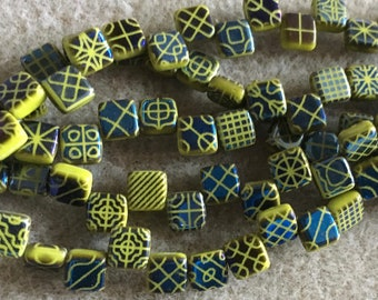 Olive Green Mixed Navy Blue Patterned CzechMates Two Hole Tile Beads Czech Pressed Glass Square Beads 6mm 25 beads