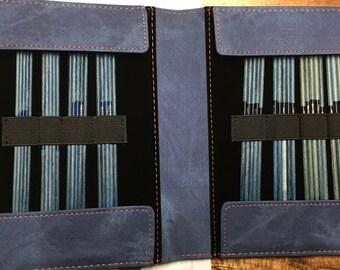 """Lykke 6"""" Double Pointed Knitting Needle Set Indigo with Indigo Blue Case Sizes 0 through 5"""