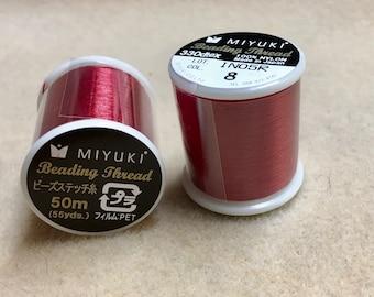 Bright Red Miyuki Nylon Japanese Beading Thread 55 yards