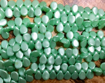 Clearance Pip Mint Green Matte Satin Czech Pressed Glass Drop Beads 5x7mm 35 pcs