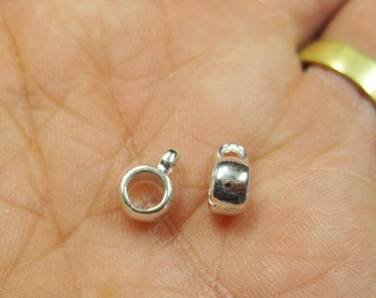 Clearance 80 Sleek Silver Plated Bail Beads or Charm Holders 9mm x 4mm Last Ones