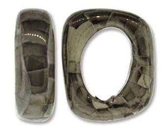 Ceramic Slider White Grey Spacer Beads Large Hole Oval Glossy Finish 7x15x18mm 2 pcs
