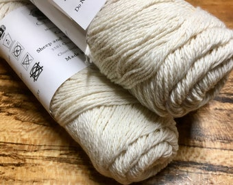 Cestari Natural White Ashlawn Collection Cotton Wool 3 ply DK Weight 250 yards Pull Skein Made in the USA