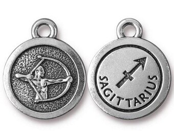 Saggitarius Zodiac Antique Silver Charm TierraCast Zodiac Sign Astrology Charm Lead Free Pewter 18.75x15.75mm One Charm