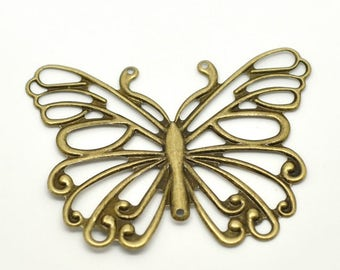 Clearance 5 Butterfly Filigree Wrap Connectors Antique Bronze Connectors Stampings 66mm x 50mm
