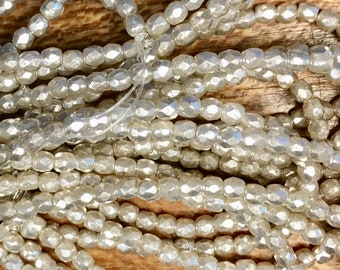 3mm Light Champagne Opal/Milky Glass with Mercury Finish Czech Glass Firepolished Crystal Beads 3mm 50 beads