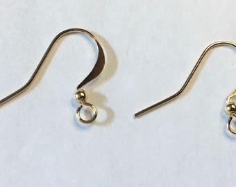 Gold Plated Surgical Steel Hammered Long Earwire Hooks French Hook Earrings with Bead 15x25mm 22 ga 12 pairs Made in USA F459