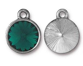 Emerald Green Birthstone Charm Rhodium Silver Charm TierraCast Lead Free Pewter with Swarovski Rhinestone 18.25x14.25mm One Charm