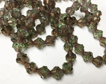 15 Olive Green with Copper Carved Czech Glass Baroque Carved Bicone Beads 11mm x 10mm