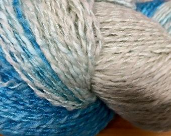 Kancha Blue Laguna Arapa Variegated Handpainted Cotton and Merino Wool DK Weight Yarn 437 yards color 05