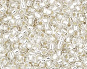 15/0 Silver Lined Crystal Toho Glass Seed Beads 2.5 inch tube 8 grams TR-15-21