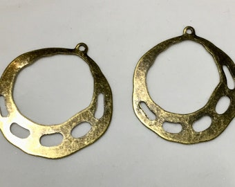 2 pairs Oxidized Brass Earring Hoops Brass Art Deco 33x36mm 4 pcs F249A