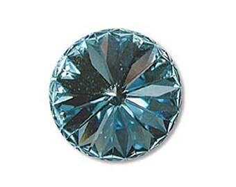 Swarovski Crystal Aqua Foiled Faceted Foil Back Rivoli Stone Beads 1122 14mm