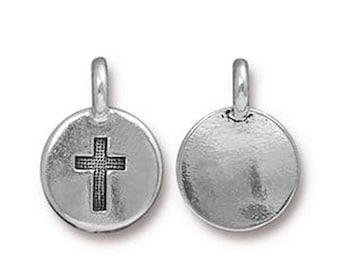 ON SALE Cross Charm Religious Antique Silver Small Cross Charm TierraCast Lead Free Pewter 17mm x 12mm One charm