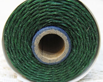 Dark Green Waxed Linen Cord 4 ply 10 yards for Macrame Kumihimo Knotting .75mm width