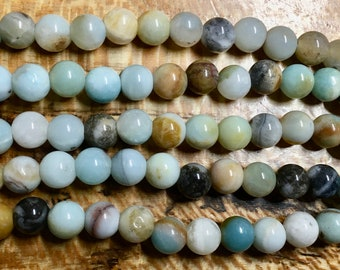 Amazonite Black Gold Gemstone Smooth Rounds 2mm Large Hole Beads 8mm Approx 24 pcs per 8 inch strand