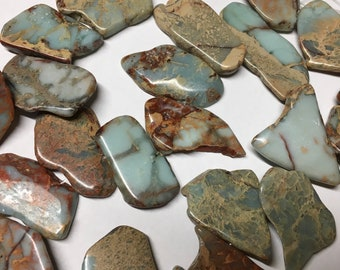 Snakeskin Jasper Gemstone Beads Freeform Flat Variable Sizes About 30x20mm to 45x35mm Approx 12 beads per 8 inch Graduated Strand