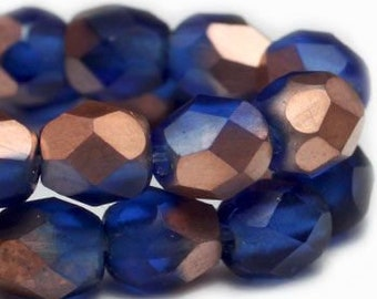 Fire Polished Crystals 4mm Blue with Matte Copper Finish Czech Glass Firepolished Beads 4mm 50 pcs