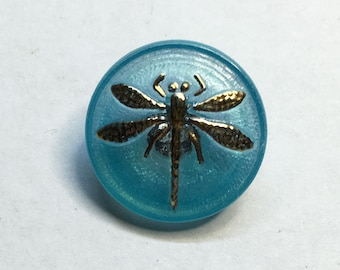 Aqua Dragonfly Czech Glass Button with Gold Detail with Metal Shank 18mm