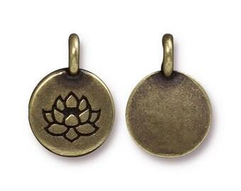 Lotus Charm Yoga Meditation Antique Brass Small Lotus Charm TierraCast Lead Free Pewter 17mm x 12mm 1 pc