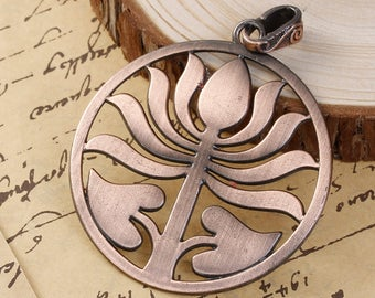 Clearance Lotus Flower Pendant Cut Out Hollow Antique Copper with Bail 83mm x 64mm One pendant