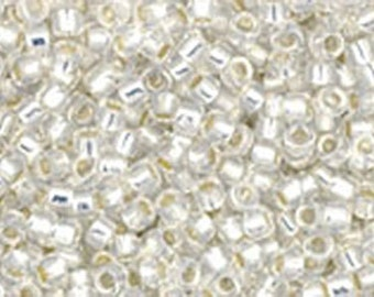 15/0 Silver Lined Milky White Toho Glass Seed Beads 2.5 inch tube 8 grams TR-15-2100