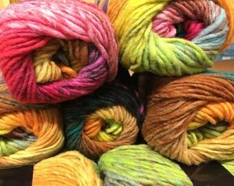 Red Pink Orange Yellow Multi Noro Kureyon 110 yards 100% Wool color 352
