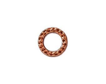 Small Hammertone Antique Copper Flat Closed Rings TierraCast Lead Free Pewter 8.6mm 4 Rings F379A