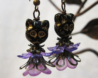 Kitty Fairy Light Purple Acrylic Lucite Trumpet Flower Vintage Inspired Earrings with Filigree and Swarovski Crystals