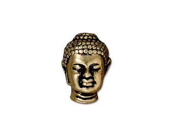 Buddha Bead TierraCast Large Hole Antique Bronze Buddha Bead 14mm x 9.75mm