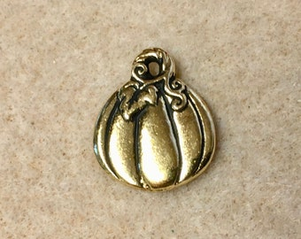 Antique Gold Double Sided Harvest Pumpkin Charm TierraCast Lead Free Pewter 19mm x 21.75mm One Charm F510F
