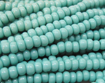 6/0 Green Turquoise Opaque Czech Glass Seed Beads 12 grams